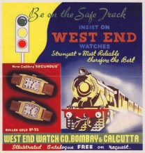 West End Watch Co. promotional poster featureing Indian Railways locomotive and rolling stock.