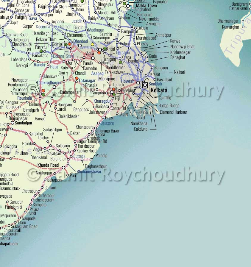 IRFCA Indian Railways FAQ Route Map East - Map of main