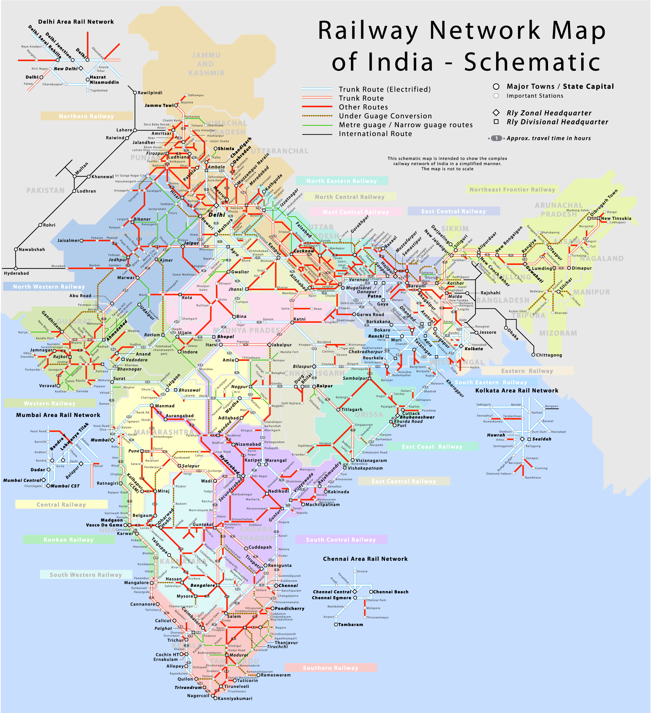 IRFCA Indian Railways FAQ Schematic Map